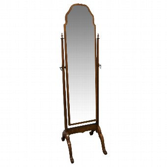 Antique Queen Anne Style Walnut Framed Cheval Mirror