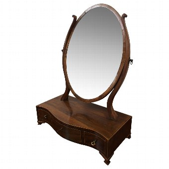 Antique George III Mahogany and Inlaid Toilet Mirror