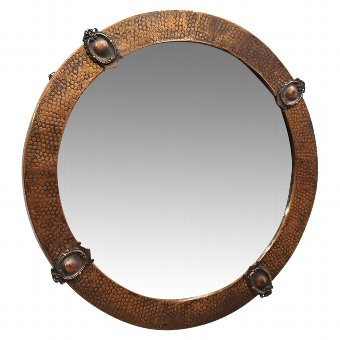Antique Copper Framed Circular Mirror