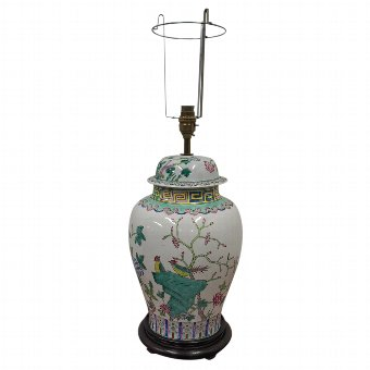 Antique Chinese Famille Rose Baluster Lamp