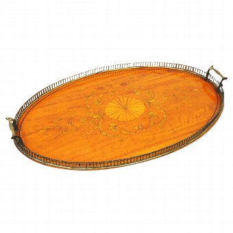 Antique Edwardian Satinwood, Inlaid and Brass Tray