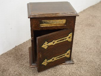 Antique Neat Oak and Brass Victorian Letter Box
