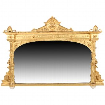 Antique Victorian Carved Gesso Wood Overmantel Mirror