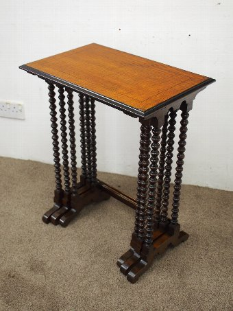 Antique Nest of 3 Silky Oak Tables