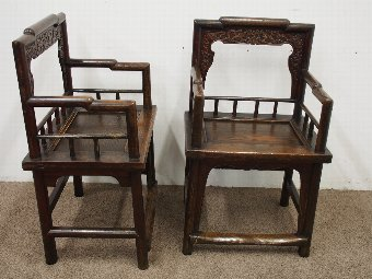 Antique Pair of 19th Century Chinese Armchairs
