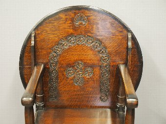 Antique Neat Carved Gothic Style Monks Bench
