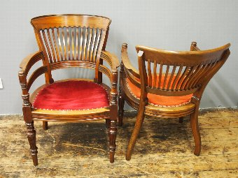Antique Pair of Edwardian Mahogany Office Chairs