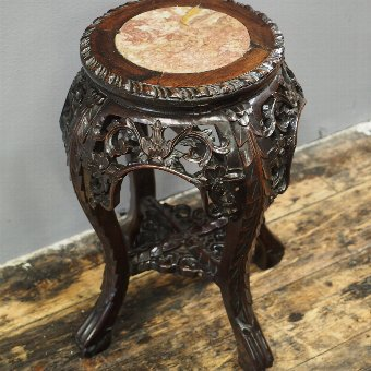 Antique Chinese Rosewood and Marble Stand