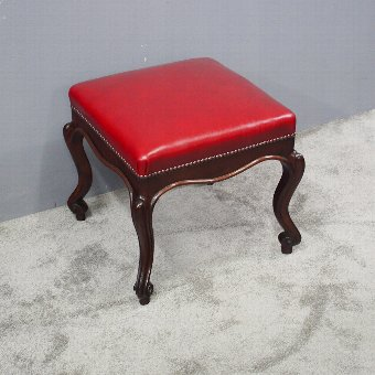 Antique Victorian Mahogany and Red Leather Cabriole Stool