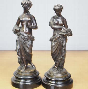 Antique Pair of Classical Inspired Bronze Figures