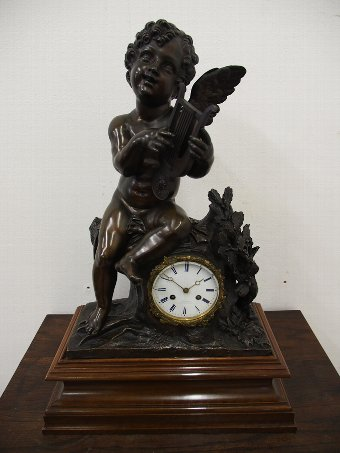 Antique French Bronze Mantel Clock