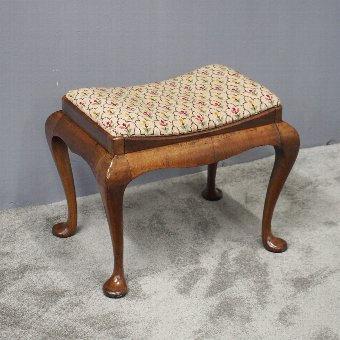 Antique George III Style Walnut Saddle Top Stool