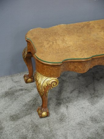 Antique Burr Walnut and Gilded Coffee Table