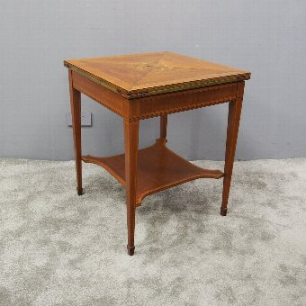 Antique Victorian Mahogany and Satinwood Envelope Card Table