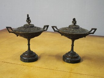 Antique Pair of Cast Brass Lidded Tazzae or Urns