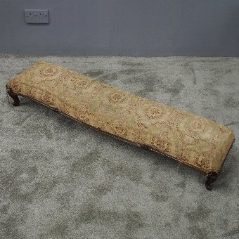 Antique Long Carved Walnut Footstool