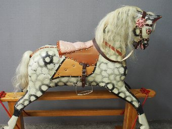 Antique Painted and Carved Wood Rocking Horse