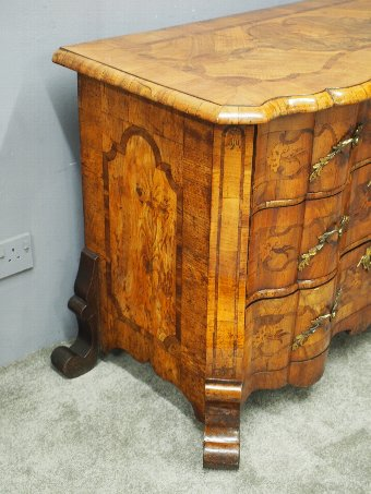 Antique North Italian Walnut Serpentine Commode