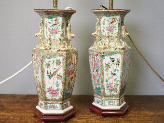 Antique  Pair of Canton Famille Rose and Verte Vases