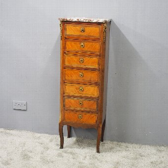 Antique  Tall French Inlaid Kingwood Chest of Drawers