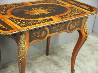 Antique Victorian Marquetry Inlaid Kingwood Sofa Table or Writing Table
