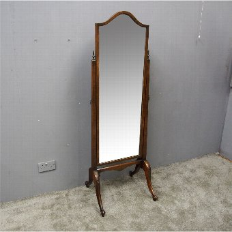Antique Queen Anne Style Walnut Cheval Mirror