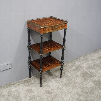 Antique French Inlaid 3 Tier Etagere