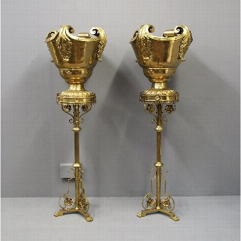 Antique Pair of Gothic Style Cast Brass Stands and Urns