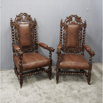 Antique Pair of Jacobean Style Oak Chairs