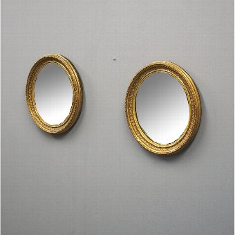 Antique  Pair of Victorian Oval Gilded Mirrors