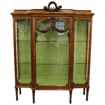 Antique French Carved Walnut Display Cabinet