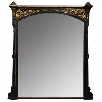 Antique Aesthetic Movement Style Ebonized Overmantel Mirror