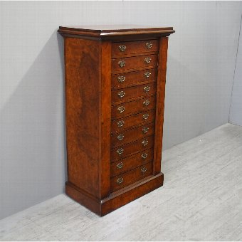 Antique Burr Walnut Wellington Chest of Drawers