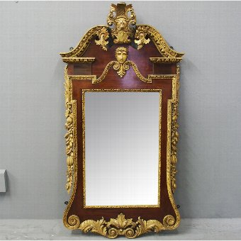 Antique George II Style Carved Walnut and Gilded Mirror