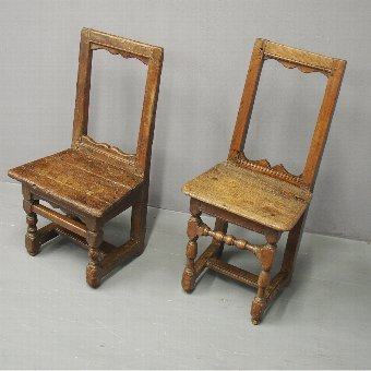 Antique Pair of French Oak Nuns or Praying Chairs