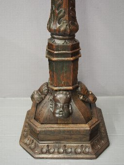 Antique 17th Century Carved Oak Stand