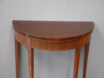 Antique Edwardian Inlaid Mahogany Foldover Games Table