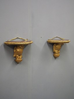Antique Pair of Carved Bird Wall Brackets