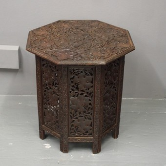 Antique Carved Octagonal Occasional Table