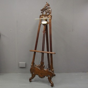 Tall Carved Mahogany Easel
