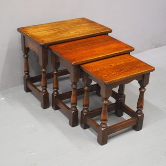 Antique Nest of 3 Oak Occasional Tables