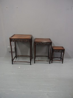 Antique  Nest of 3 Chinese Huanghuali Tables