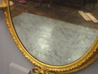 Antique Victorian Giltwood Oval Overmantel Mirror