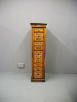 Antique Tall Oak Filing Cabinet by Campbell & Son, Glasgow