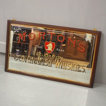 Antique Victorian Pub Mirror for Morton's Scotch & Irish Whiskies