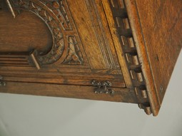 Antique Jacobean Style Carved Oak Bedside