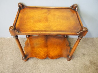 Antique Pair of Two Tier Walnut Etageres