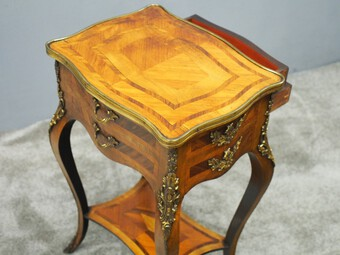 Antique French Kingwood and Walnut Side Table