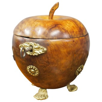 Antique Apple Shaped Fruitwood Tea Caddy