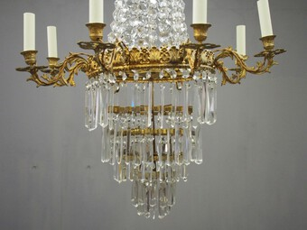 Antique Victorian Cut Crystal Tent and Bag Chandelier